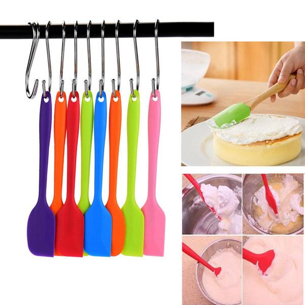 7 Colors Baking Spatula Kitchen Silicone Cream Butter Cake Mixer Spatula Heat Reistant Icing Spoon Scraper LJJ_A546