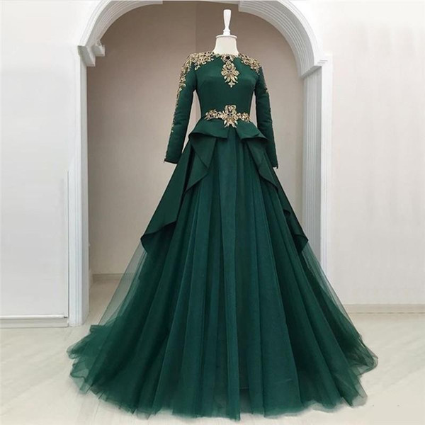 Dark Green Long Sleeves Tulle Long Evening Dresses 2019 Arabic Lace Applique A Line Muslim Sweep Train Formal Party Prom Wear Dresses