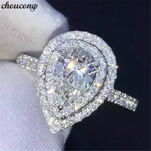 choucong Water Drop Promise Ring 925 sterling Silver Diamond cz Stone Engagement Wedding Band Rings For Women Finger Jewelry Gift