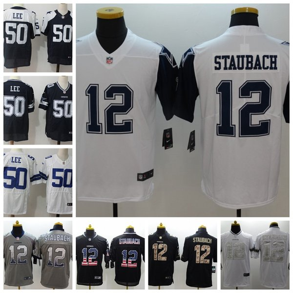 reputable site 3c693 fdd39 2019 New Mens 12 Roger Staubach Dallas Jersey Cowboys Football Jersey 100%  Stitched Embroidery 50 Sean Lee Color Rush Football Shirts Custom Tee Shirt  ...