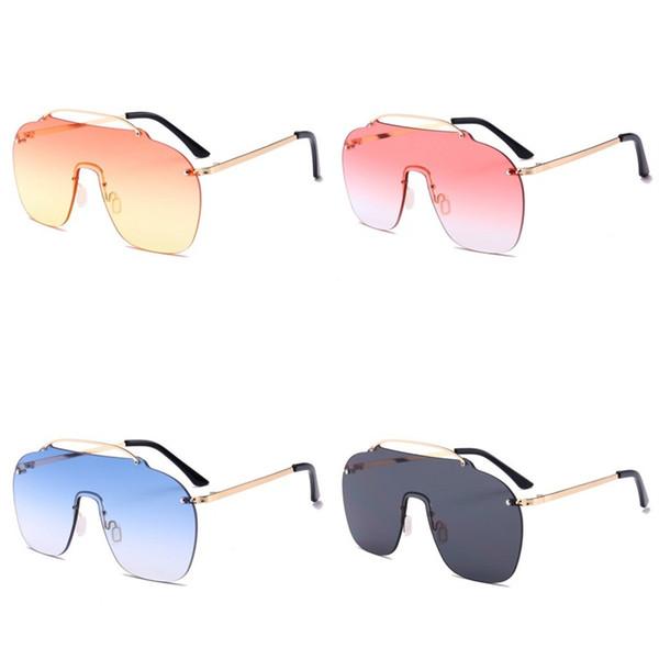 Conjoined Lens Sunglasses For Women Vintage Sunglass Frameless Oversized Eyewear Metal Fashion Wild Joker Exaggeration New 12 5kcb D1