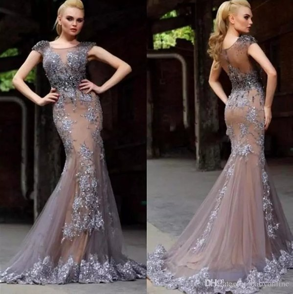 Gray Mermaid Prom Dresses Long Cheap 2019 Scoop Neckline Short Cap Sleeve Lace Applique Evening Gowns Sheer Cocktail Party Formal Dress