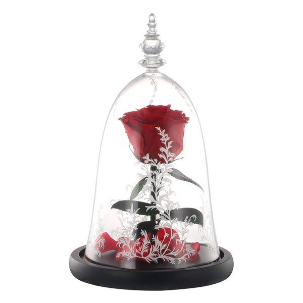 Diodo emissor de luz da noite eterna flor simulação rose flor biônico diy tampa de vidro rosa paisagem pequeno príncipe