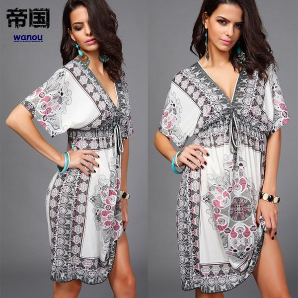Sexy Dress Lady NEW Fashion Summer Deep V-neck Short Sleeve Retail Wholesale Women Milk Silk Sandy Show Beachwear