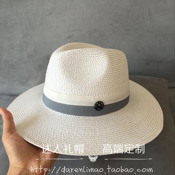 primavera y verano ocio joker cinta de doble color logotipo de metal negro negro ms sombrero para el sol sombrero Sir Sombrero de paja blanco