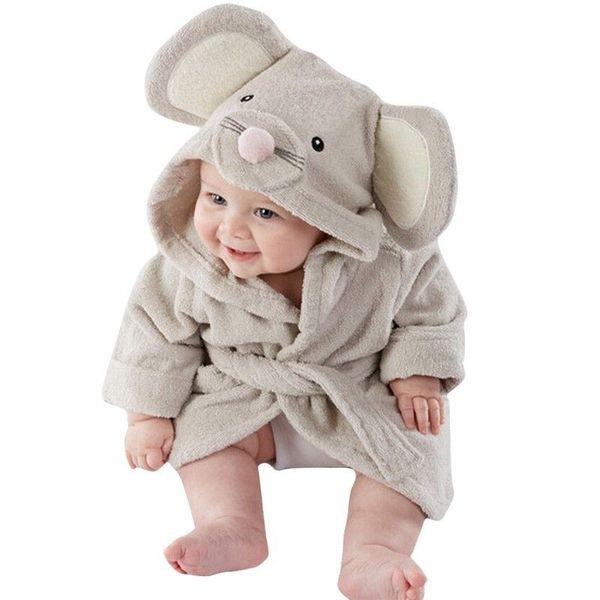 Toalla linda de la historieta animal del bebé Albornoz con capucha del niño del muchacho del niño de las muchachas de baño