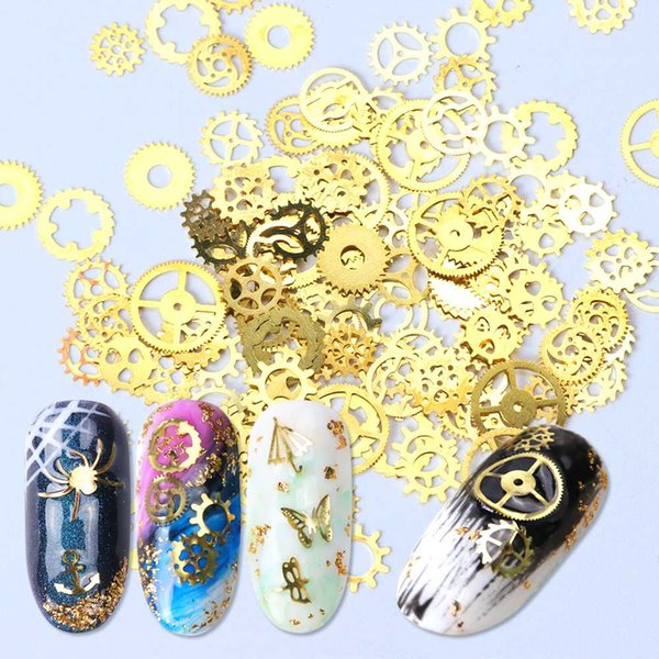 1 Bottle Gold Glitters Gear Animal Nail Flakes Paillette Mixed Hollow Sequins Butterfly Letters Heart Metal Decoration BE1006