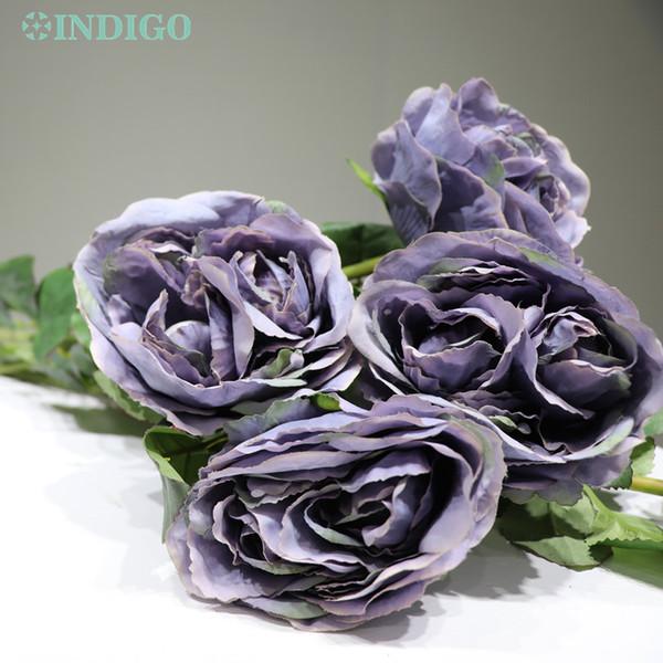 INDIGO-5pcs / Lot Mor Gül Dekoratif Yapay Gül Şakayık Düğün Çiçek Parti Olay Ücretsiz Kargo