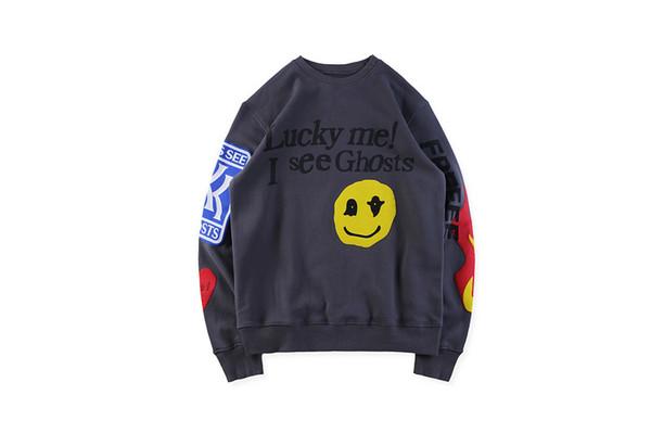 Дизайнерские граффити Призраки Дети см. Толстовки Подростковая одежда Мужская улыбка Печатные пуловеры с вырезом