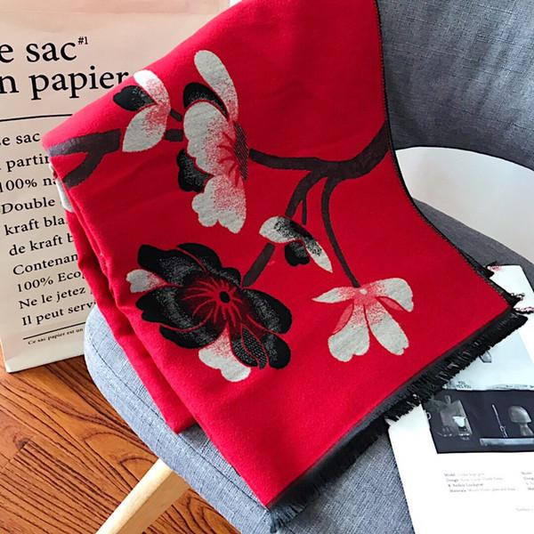 2019 moda de luxo flor impressão marca cashmere mulheres xales de luxo para as mulheres de alta qualidade sem caixa