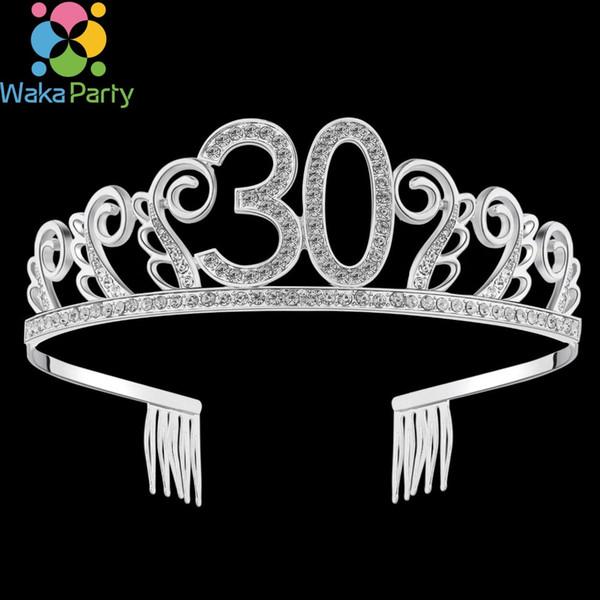 Herzlichen Glückwunsch zum Geburtstag Kristall Tiara Geburtstag Krone Princess Hair Accessories Silber Strass Happy 30.