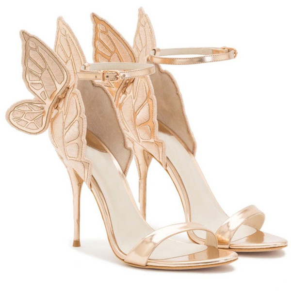 Hot Sale-Fashion Women Angel Wing Sandals Gladiator Ankle Strap High Heels Embroidered Butterfly Pumps Bridal Wedding Shoes Party Sandles