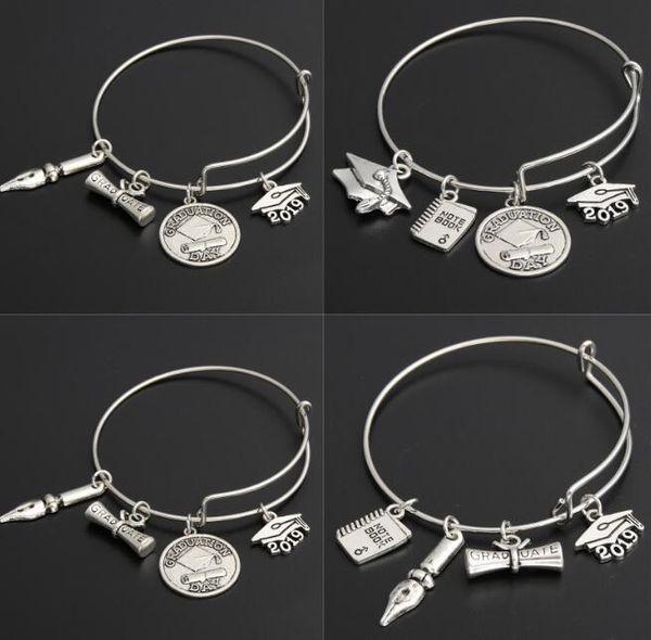 2019 Graduation Diploma Bangle Expandable Cable Wire Bangle Adjustable Luxury Designer Jewelry Bracelet Fountain Pen Graduate Charm Bracele