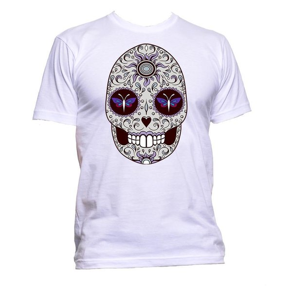 Sugar Skull Grey Coloured With Butterfly Design T-Shirt Mens Womens Unisex Gift jersey Print t-shirt