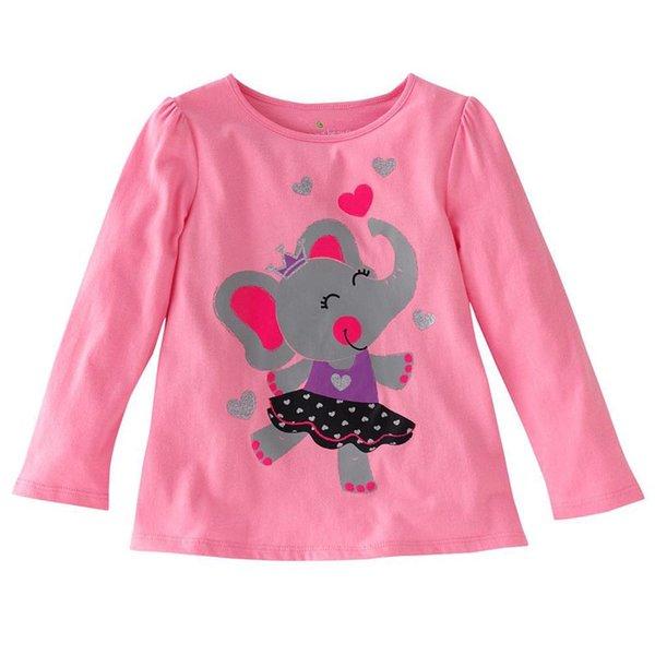 T-shirt di design per bambini T-shirt per bambini Ricamo a girocollo Manica lunga Cartone animato Stampa a righe con stampa a righe 61