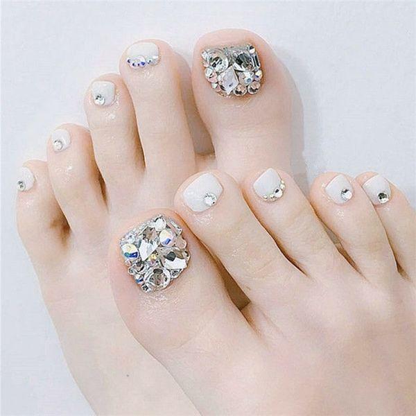 24pcs / set Nails Estate bellezza bianco Falso piedi con Piazza della copertura completa strass piede falsa del chiodo chiodi a testa artificiale con colla