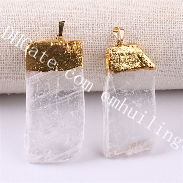 gold plated white selenite nugget