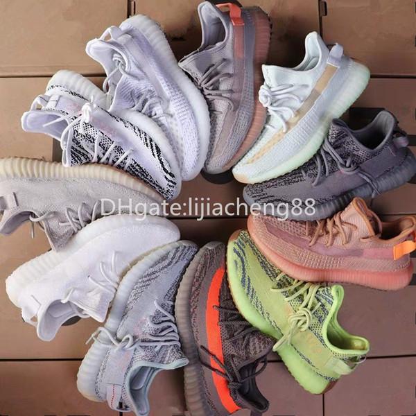 Nuevo Cream V1 Sesame Kanye West Negro blanco Estático Arcilla Forma verdadera Hiperespacio reflectante 3M Gid Glow Wave Runner Hombres Zapatillas Zapatillas