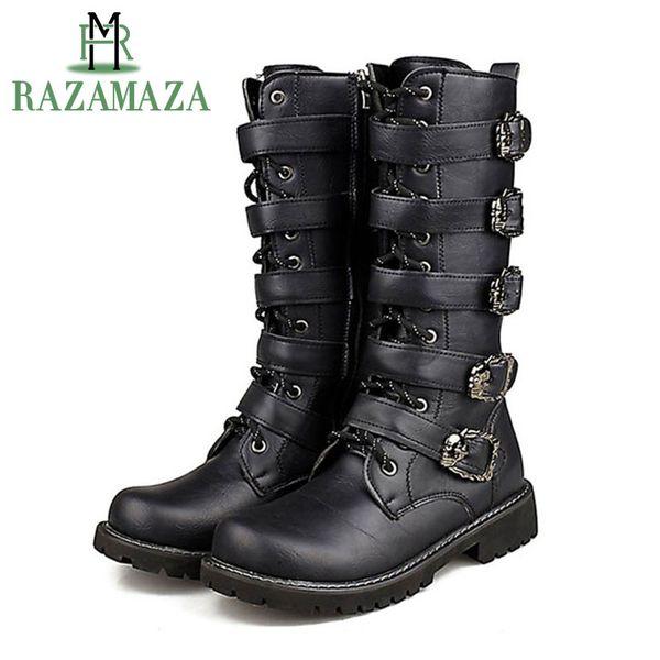 RAZAMAZA Motorcycle Boots Men Motocross Boots Motorcycle Shoes Pu Leather Rock Mid-Calf Buckle Motorbike Boots Punk Martin
