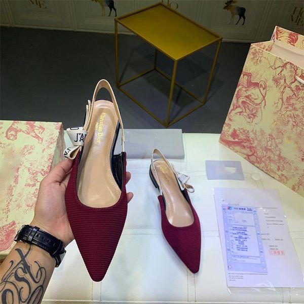 2020 Hot Sale-estate High End Donne tacchi rossi, Tacchi alti sandali slingback pompe in tessuto tecnico con il nastro formato 34-40