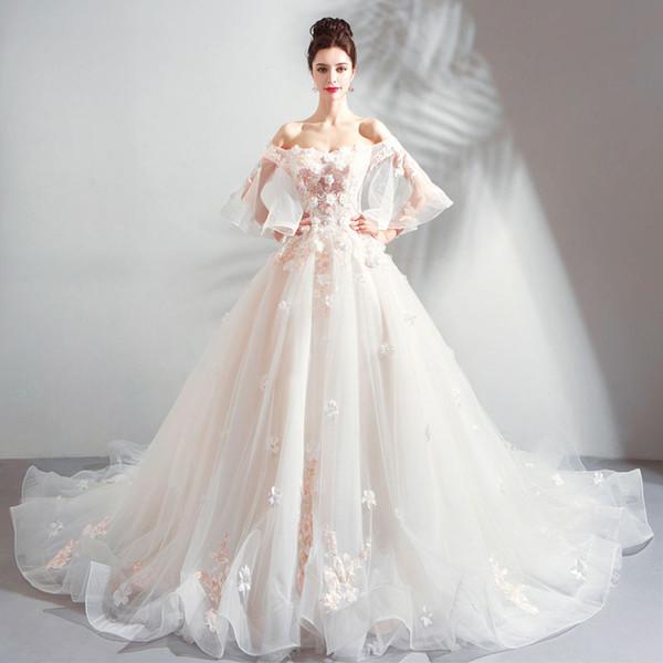 Charming Blumen Super Xiansen Französisch Braut Rücklicht Hochzeitskleid New Style 2019