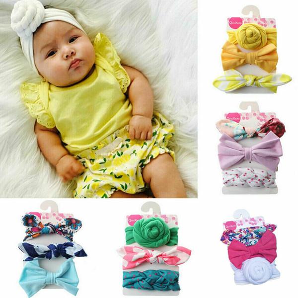 6 Estilos de la niña Accesorios Focusnorm nuevo bebé recién nacido niña Imprimir Bowknot lindo Las vendas del pelo de los niños de la venda Headwear 3 PCS