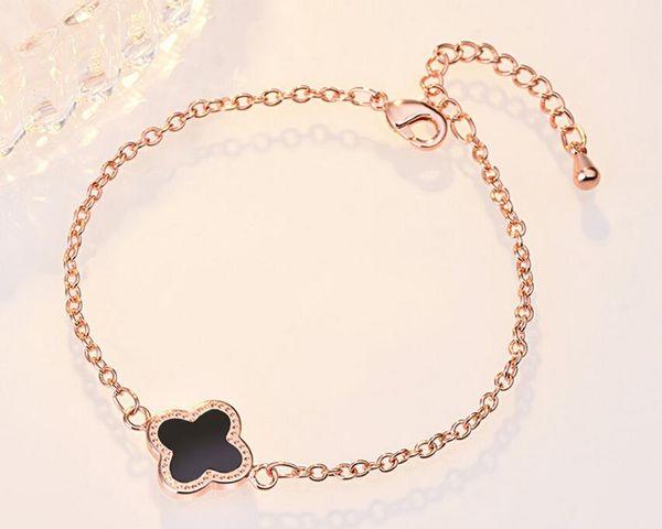 top popular 18K Rose Gold Link Bracelet Clover Luxury Designer Charm Cross Chain Bracelets for Women Jewelry Wedding Gift Free Shipping 2021