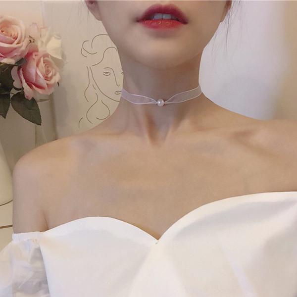 Elegante Perla Clavícula Gargantilla Collar Blanco Desnudo Púrpura Cuerda de Gasa Capa Cadena Gargantilla Joyería Vintage para Mujeres Accesorios