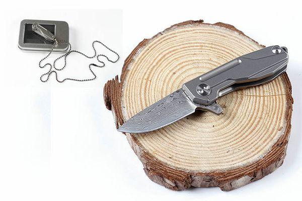 Free DHL Mini Size HY002 Folding Flipper Tactical Knife Damascus 58-60HRC Blade Titanium Handle EDC Pocket Survival Camping Knives P180F