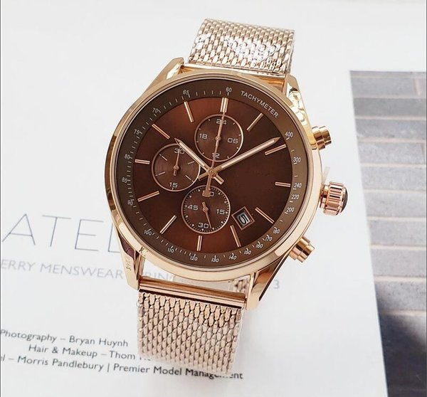 luxury Hot Items Selling Gold Coffee Color quartz stopwatch All function Relogio all pointers work designer waterproof man Chronograph Clock