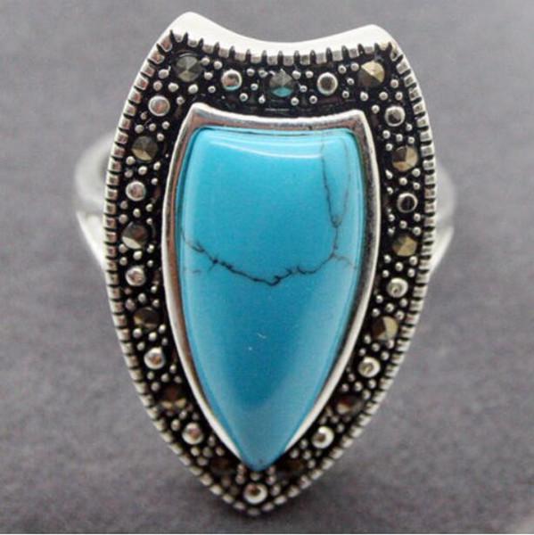 Jewelryr Anello di giada all'ingrosso Reale 26X14MM Pietra naturale blu Marcasite 925 ANELLO IN ARGENTO STERLING Taglia US 7 8 9 10 Spedizione gratuita