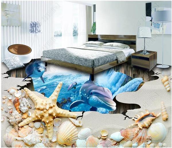 3d ПВХ полы пользовательские фото стикер стены пляж shell дельфины рыбы самоклеящиеся пол домашнего декора гостиной Обои для стен 3 d