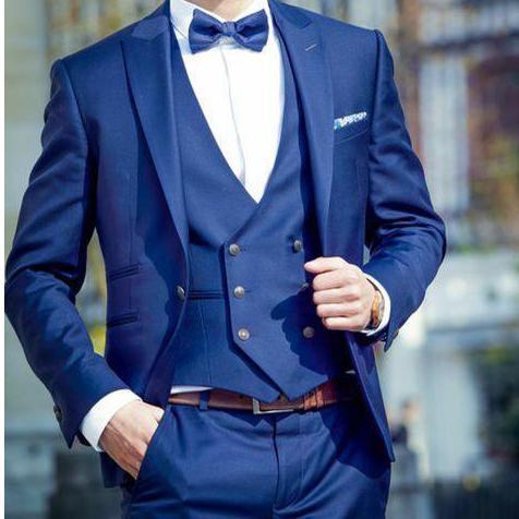 2019 New Blue Men 3 Piece Best Mens Suit Wedding Tuxedos For Prom Excellent Groom Tuxedos Slim Fit Men Business Blazer (Jacket+Pants+Vest)