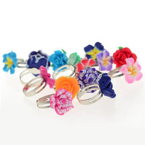 100Pcs/Lots Wholesale Mixed Colors Flower Polymer Clay Finger Rings For Kids Flower Adjustable Rings For Children Gift