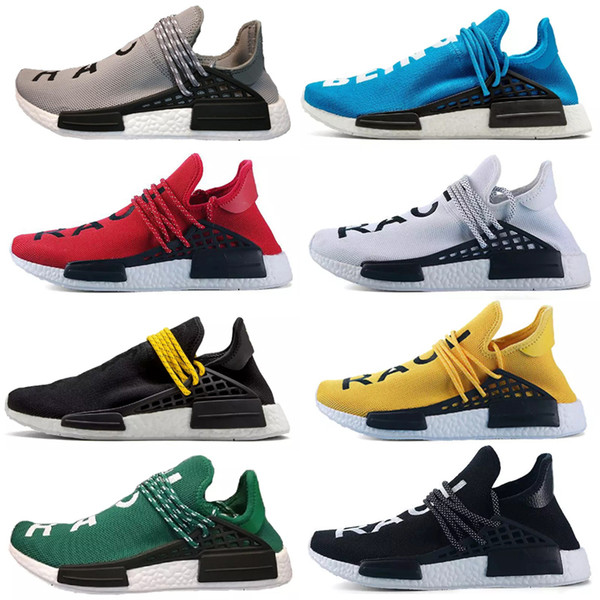 2019 Human Race Mens Running Shoes Pharrell Williams Sample Yellow Core Black Sport Designer Shoes Women Sneakers 36-45