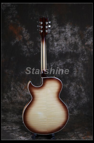 Starshine Hollow Body Electric Guitar JS-BY101 Flower Inlay Maple Top 5 piece Neck Grover Tuner