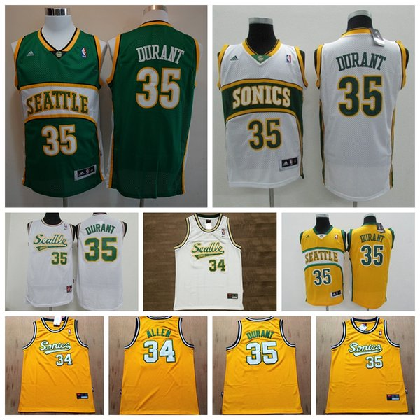best sneakers 606c8 a0319 2019 Retro Seattle 34 Ray Allen #35 Kevin Durant Mesh Jersey Mens 1995  96Supersonics Mitchell & Ness Hardwoods Classics Retro Basketball Jersey  From ...