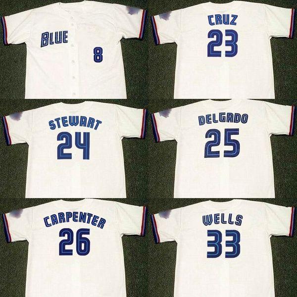 Männer 23 JOSE CRUZ 24 SHANNON STEWART 25 CARLOS DELGADO 26 CHRIS CARPENTER 33 DAVID WELLS Toronto 1999 Baseball Jersey