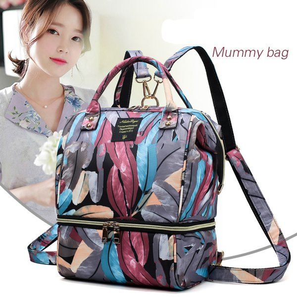 Multi-function Oxford Fashion Printed Waterproof Small Baby Diaper Backpack Bags for Moms Nappy Bag for Baby Care Mummy Backpack