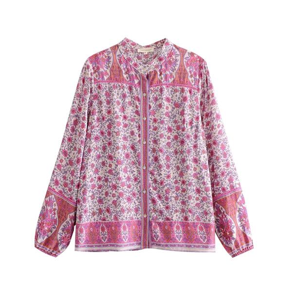 Blusa mujer rosa flores florales camisas abotonadas manga larga con cuello en V casual verano bohemio playa vacaciones top blusas femeninas 2019 Nuevo