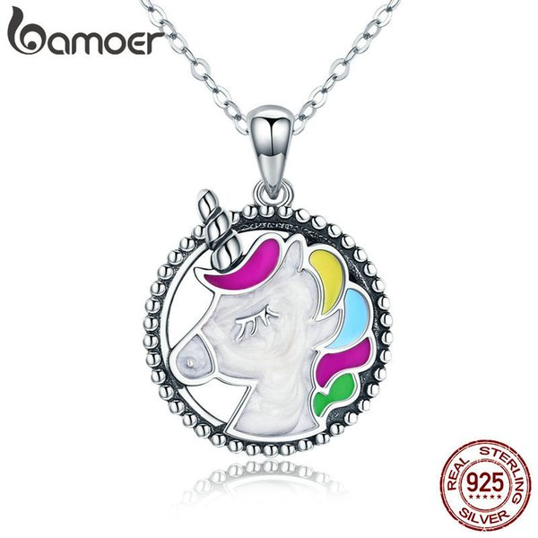Bamoer Trendy 925 Sterling Silver Pendant Memory Colorful Enamel Necklaces For Women Silver Necklace Jewelry Gift Scn266 Y19050901