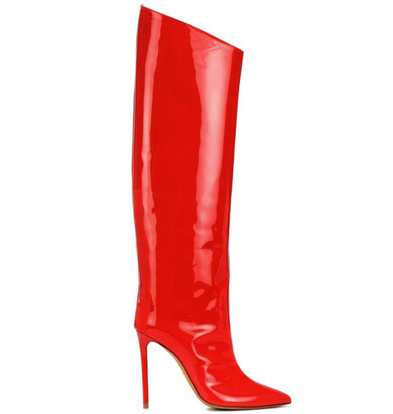 12cm Hot selling winter boots full zipper red patent leather pencil high heel knee booties ladies shoes woman boot