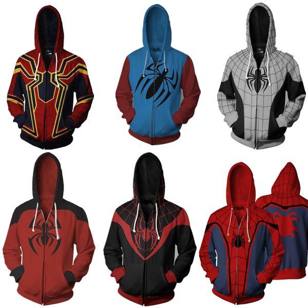 Iron Spider-Man Felpa con cappuccio Avengers Infinity War Spiderman Venom Pullover Zipper Coat Jacket Cosplay regalo