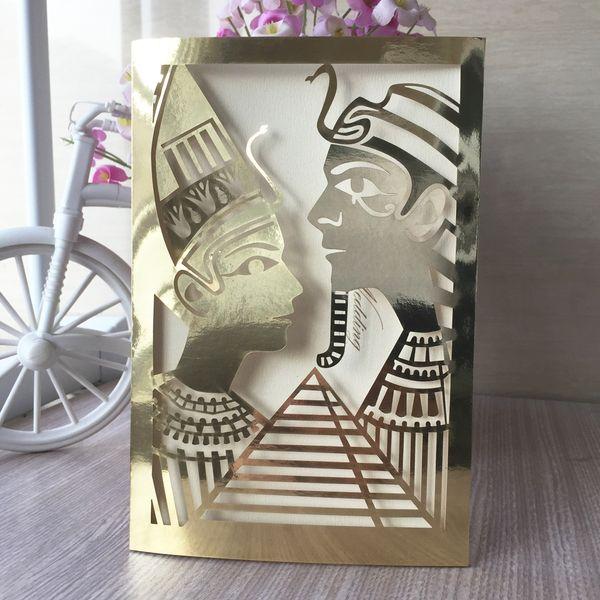 Compre Lujo Oro Egipto Reina Y Rey Boda Invitación Decoración Cumpleaños Fiesta Cena Bendiga Saludo Matrimonio Tarjeta De Aniversario A 1 38 Del