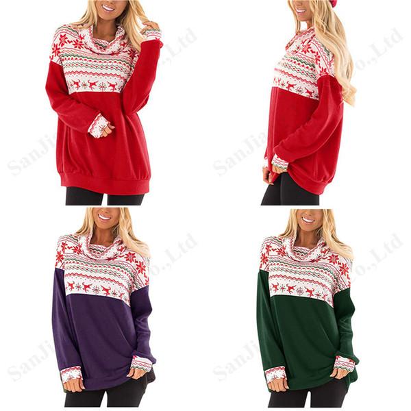 Las mujeres Sweatershirt 2020 Navidad Montones de manga larga de cuello con capucha del invierno del copo de nieve reno Imprimir Hembra ocasional tapas de la blusa XL-5XL A120503