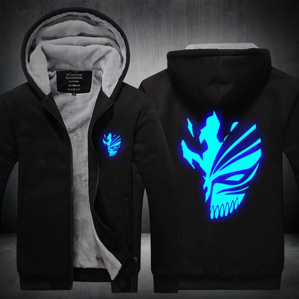 Men Casual Thicken Luminous Anime Bleach Kurosaki Ichigo Sweatshirts Winter Cashmere Hoodie Zipper Jacket Leisure Sweatshirts USA EU Size