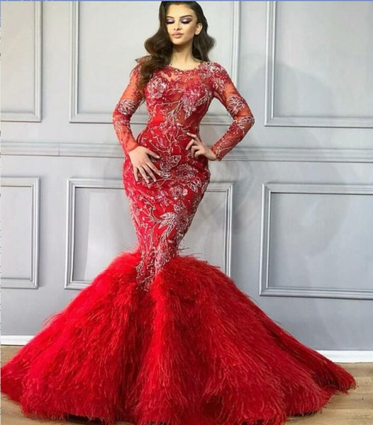 Evening dress Mermaid Jewel Long Sleeve Red Tulle Applique Beaded Feather Classic Customizable in any size Modern 199Customizable