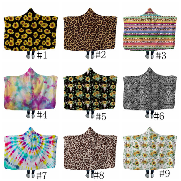 top popular Sunflower Hooded Blanket Leopard Printed Fleece Blankets Adults Kids Soft Warm Sherpa Capes Travel Picnic Throw Towel 13styles GGA2586 2019