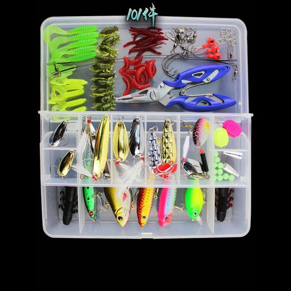 101pc Multi-function Fishing Tackle Fishing Lures Set Worm Soft Baits Spoon Spinner Minnow Hard Baits Lead Head Jigs Fishing Hook