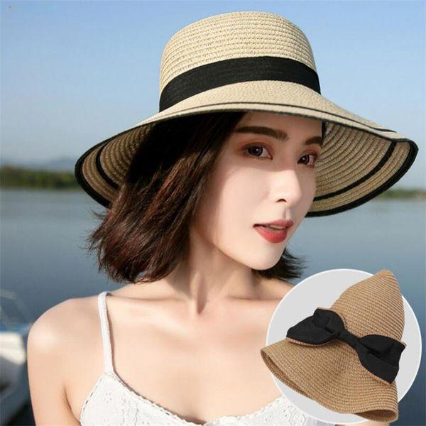 Summer Women Wide Brim Hats Fashion Straw Handmade Girls Hat Bow Kont Lovely Sunscreen Female Hats